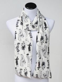 Silky scarf chiffon white and black feminine ladies traditional or infinity scarf, spring summer scarf for women and teenage girls by #HappyScarvesByLesya on Etsy