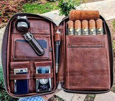Cigars And Whiskey, Pipes And Cigars, Cuban Cigars, Whisky, Men Accesories, Cigar Accessories, Tobacco Pipe Smoking, Tobacco Pipes, Leather Cigar Case