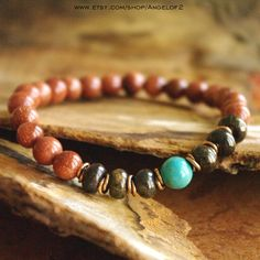Goldstone Jasper and Magnesite Meditation Bracelet by Angelof2, $25.00