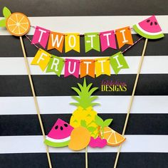 TWO-tti Frutti Cake Bunting Topper with Fruit Cake Topper- pc set) Tutti Frutti Birthday Smash Cake – Pink, Orange, Yellow, Lime Green - Birthday Cake Fruit Ideen Fruit Birthday Cake, 2nd Birthday Party Themes, Birthday Bunting, Tutti Frutti, Cake Pink, Hawaiian Party Decorations, Cake Bunting, Fruit Party, Cake Toppers