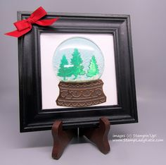 A small frame makes a cute home decor item to sit on a shelf. Use Stampin'Up!'s plastic snow globe domes to and Snow Globe Dies . Globe Projects, My Favorite Part, My Favorite Things, Evergreen Forest, Foil Paper, Brushed Metal, Green Trees, Decorating Blogs, Home Decor Items
