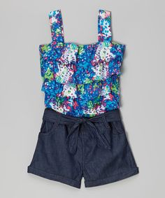 Loving this Blue Abstract Ruffle Romper - Infant, Toddler & Girls on #zulily! #zulilyfinds #firstsummer