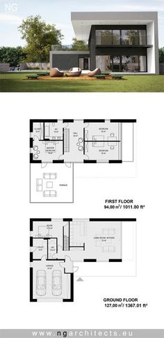 Moderne Villa Star entworfen von NG Architects www… Dream House Plans, Modern House Plans, House Floor Plans, Loft House Design, Villa Plan, Modern Villa Design, Architectural House Plans, Modern Architects, Architecture Plan