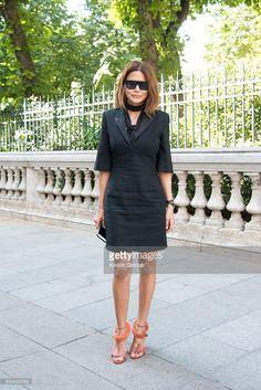 Fashion director of Vogue Australia Christine Centenera wears a Saint Laurent dress and Celine shoes day 4 of Paris Haute Couture Fashion Week Autumn/Winter 2016, on July 6, 2016 in Paris, France.