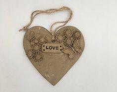 Love Heart, Heart Ornament, Love Ornament, Heart Plaque, Ceramic Heart, Pottery Heart Ornament, Clay Heart Ornament, wedding favour