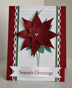 Handstamped Paper Poinsettia Christmas Card