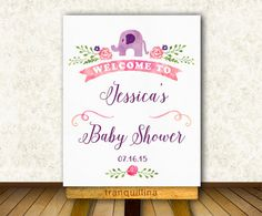 Baby Shower Welcome Sign Printable, Elephant Baby Shower, Girl Baby Shower Ideas. Matching invitation and games at: tranquillina.etsy.com