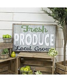 "Vip Home International Metal ""Fresh Produce"" Sign - Gray Car Part Furniture, Automotive Furniture, Automotive Decor, Smart Furniture, Modern Furniture, Furniture Design, Corrugated Metal, Galvanized Metal, Home Office Lighting"