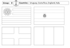 Blank outlines of the flags for each of the countries in the 2014 World Cup – ideal for displays and themed activities.