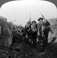 British troops in a captured trench, Hindenburg Line, France, 1917-1918. The Hindenburg Line was a vast system of defences built on the Western Front by the Germans in the winter of 1916 - 1917. It extended from Lens in the north to beyond Verdun. British and Newfoundland forces using tanks broke through the line at Cambrai in 1917, and was breached in several places in Sept 1918 during the Allied Hundred Days Offensive. Stereoscopic card detail.