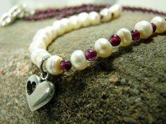 Romantic Garnet and Pearl Necklace with Sweet Heart Charm by ksyardbird #Valentine'sDayJewelry