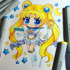 Chibi art of Sailor Moon. This is my made up version of a Sailor Serenity! It's been awhile since I last drew so it's nice to warm up with some Sailor Moon! #sailormoon #copic #copicart #copicmarkers #sailormooncrystal #usagi #usagitsukino #fanart #chibi #serenity #traditionalart #paigeeworld #instagramartist #copicartist #instaart #manga #anime