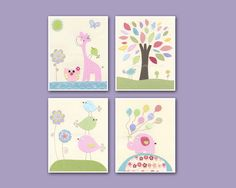 Nursery Decor Art for Kids, Baby girl Room birds, set of 4 8x10 print, purple, baby blue, lilac, aqua, green, pink, yellow. $65.00, via Etsy.