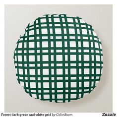 Forest dark green and white grid round pillow Soft Pillows, Throw Pillows, Black And White Pillows, Black White, Green Cushions, Round Pillow, Pillow Room, White Home Decor, Decorative Cushions