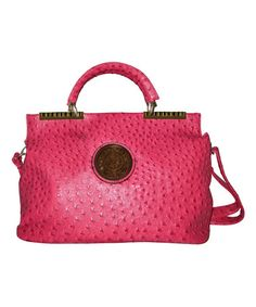 Look what I found on #zulily! Fuchsia Faux Ostrich Convertible Satchel by AR New York #zulilyfinds