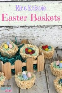 Rice Krispie Easter Baskets With HERSHEY'S Eggs & Jelly Beans - Must Have Mom