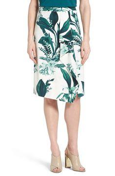 Halogen® Cascade Detail Floral Print Pencil Skirt