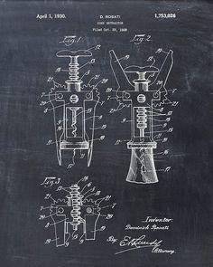 Patent Print of a Cork Screw Patent Art Print by VisualDesign