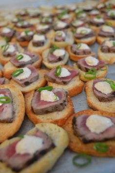 ... Tenderloin Crostini with Horseradish Cream Sauce and Chives #
