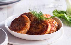 Lohipihveihin sopii hyvin porkkana ja peruna. Kasviksilla voi korvata osan pääraaka-aineesta.