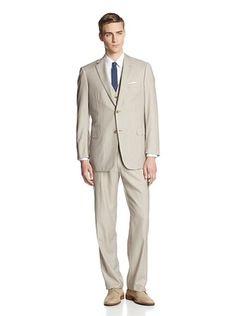 50% OFF Brioni Men's Pinstripe Three Piece Two Button Suit (Beige/Brown)
