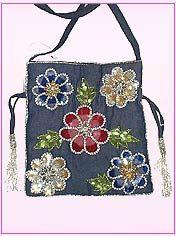 Denim Based Flower Embroided