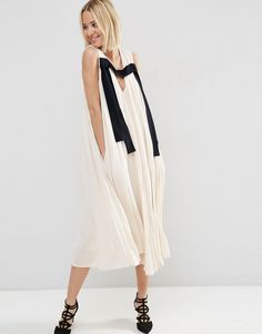 ASOS WHITE Pleat Detail Midi Dress