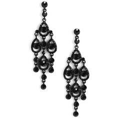 Black Grand Chandelier Earrings ($6.45) ❤ liked on Polyvore featuring jewelry, earrings, gemstone jewelry, black jet jewelry, long dangle earrings, gem earrings and chandelier jewelry