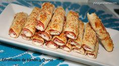 Estos Enrollados de Jamón y Queso lo pueden preparar hasta tus hijos de lo fácil que es. Es perfecto como aperitivo o como picoteo.