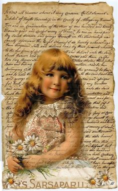 Vintage girl with script ~ brocante brie
