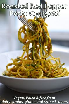 Roasted red pepper pesto courgetti / zoodles. Healthy pasta! This is grain free, gluten-free, dairy-free, refined sugar-free, vegan and paleo.