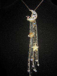 Betsey Johnson Heavens to Betsey Cow and The Moon Necklace with Charm