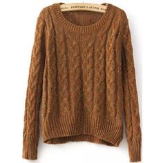 Coffee Round Neck Long Sleeve Cable Knit Sweater