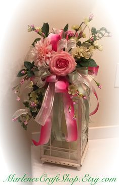 Shabby Chic/pink Roses/ Swag/ Pink peonies/ pink and mint green ribbon/ Lantern swag/ lantern bow/ pink lantern swag/ rustic wedding swag by MarlenesCraftShop on Etsy