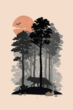 Check out this awesome 'Woodlands' design on Minimalist Art, Aesthetic Art, Landscape Art, Painting & Drawing, Gouache Painting, Art Inspo, Vector Art, Iphone Wallpaper, Modern Art