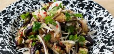 Eggplant and date salad recipe - By FOOD TO LOVE, Julie Biuso taps into the tantalising textures and flavours of Morocco Middle Eastern Salads, Moroccan Salad, Fresh Herbs, Eggplant, Vegan Vegetarian, Cooking Tips, Salad Recipes, Delish, Side Dishes