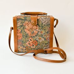 vintage tapestry & leather box purse by RockAndRollVintage, $40.00