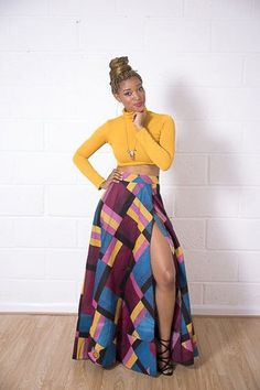 African maxi skirts are our favourite! Does anything look more timelessly beautiful than African print fabric on a long flowing skirt? Shop the Grass-fields range here. African Inspired Fashion, African Print Fashion, Fashion Prints, African Prints, African Attire, African Wear, African Dress, African Women, I Love Fashion