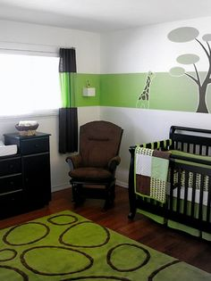 much better idea than painting the whole room green. makes the space look bigger and you can have darker furniture :)