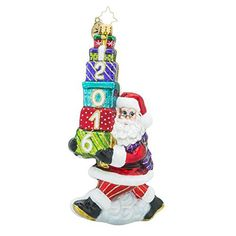 """Christopher Radko Ornaments Are Mouth Blown and Hand Painted In Poland. This Santa Is Holding A Stack Of Presents. The Front Of The Packages Is Decorated With """"2016"""" In White Glitter That Is Outlined In Gold Glitter. This Santa Ornament Will Come Packaged In A Christopher Radko... more details available at https://perfect-gifts.bestselleroutlets.com/gifts-for-holidays/home-kitchen/product-review-for-christopher-radko-2016-balancing-the-date-santa-glass-christmas-orn"""