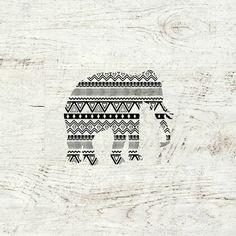 Aztec Tribal Elephant Black White Vintage Wood  Art Print