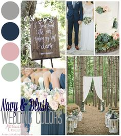 Navy Blush Weddings, Blue And Blush Wedding, Blush Wedding Colors, Sage Green Wedding, Blush And Grey, Wedding Color Schemes, Colour Schemes, Gray, Wedding Themes