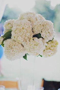 30 ideas for hydrangeas - really great simple ideas for aisle decor. Could use construction paper to make cones...