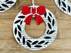 Stencil Print Christmas Wreaths - Leaf and Bow Pattern - freshly found Bow Pattern, Pattern Paper, Christmas Projects, Christmas Wreaths, Recycled Christmas Decorations, Stencil Printing, Stationery Store, Patterned Sheets, Bow Design