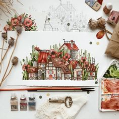 Charming Watercolor Illustrations Capture Garden Fairyland Towns illustration Charming Watercolor Paintings Depict Tiny Fairyland Towns Nestled Within Garden Flowers Watercolor Paint Set, Watercolor Drawing, Watercolor Illustration, Watercolor Flowers, Watercolor Artists, Watercolor Architecture, Guache, Watercolor Techniques, Fairy Land
