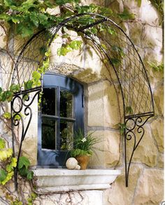 cool window treatment..it needs a window box planted with vines