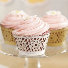 Floral Art Deco Filigree Paper Cupcake Wrappers - Set of 12