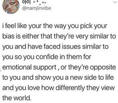 This is actually rlly true,, like just for a few examples I bias yoongi in bts and taeyong and renjun in the nct units, and I feel like they're the ones that I relate to the most. I typically choose my bias based on who I relate to most in the group, then I find that my wreckers are the ones who show me a new side, such as kookie in bts and (tbh most in nct could be my wreckers but) jisung (who I could basically consider a bias at this point)/chenle/hyuck