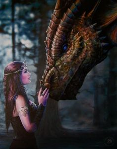 Once Upon a Time Wall Plaque Art Print   Anne Stokes Maiden with Dragon Art