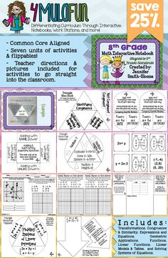Are you looking for an Interactive Notebook for 8th Grade Math? This set of resources not only contains everything you need to cover 8th grade skills but also provides teaching tips, full color photos and more! Aligned to Common Core Standards and Texas Essential Knowledge and Skills.